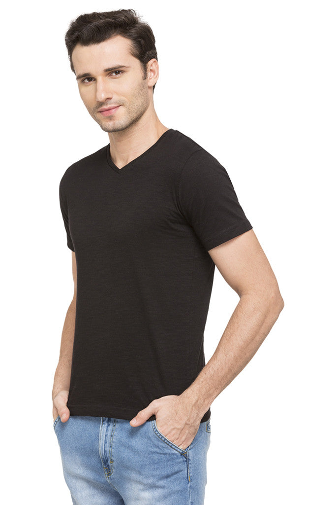 V-neck Solid Slub T-shirt-5
