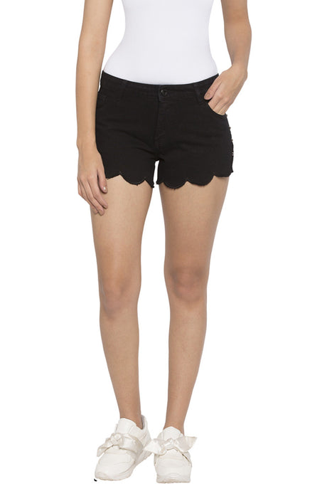 Scallop Hem Denim Shorts-1
