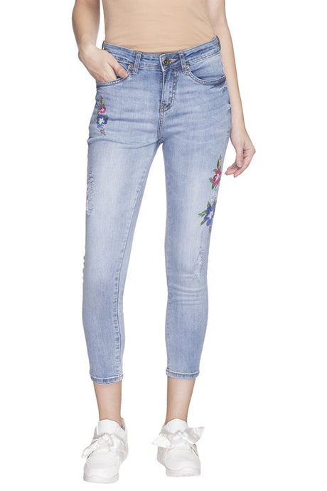 Embroidered Skinny Fit Denims-1