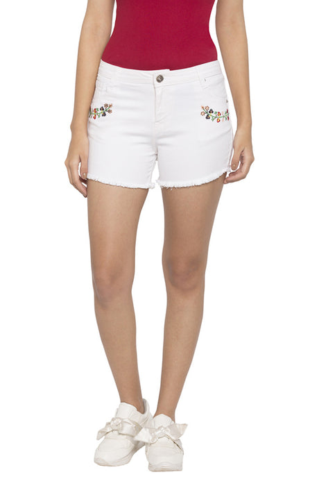 Raw Edged Embroidered Shorts-1