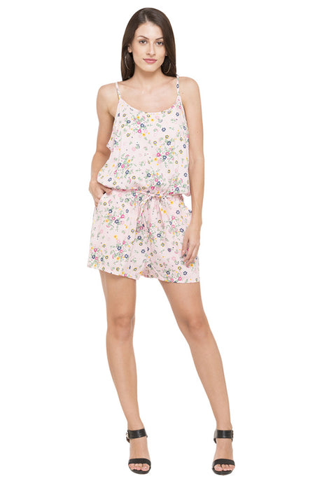 Strappy Shoulder Floral Print Playsuit-1
