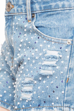 Load image into Gallery viewer, Sequined Denim Shorts-6