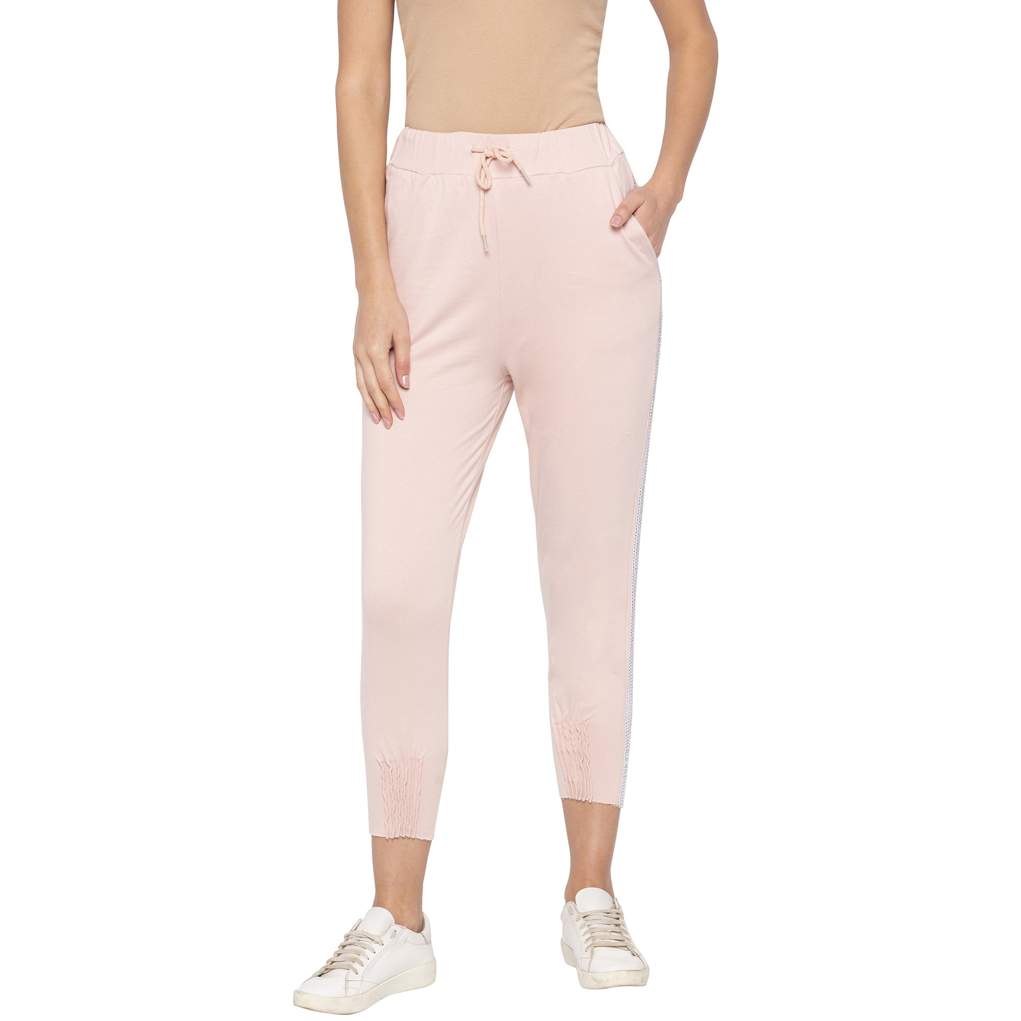 Casual Pink Color Slim Fit Cropped Joggers-1