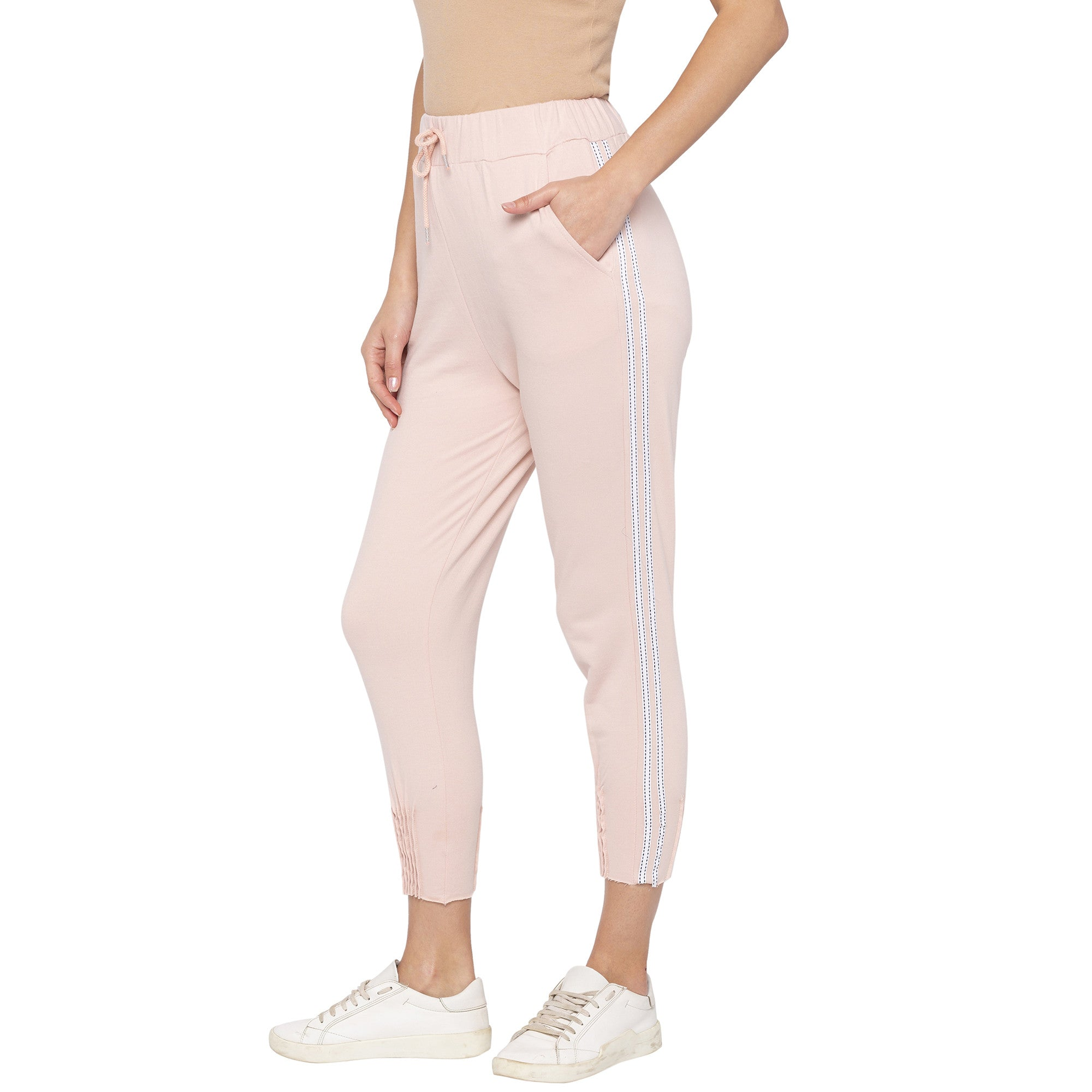 Casual Pink Color Slim Fit Cropped Joggers-2