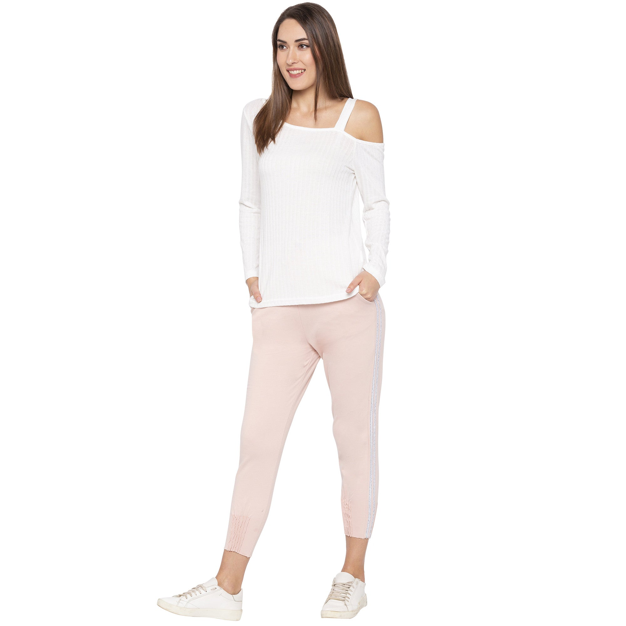 Casual Pink Color Slim Fit Cropped Joggers-4