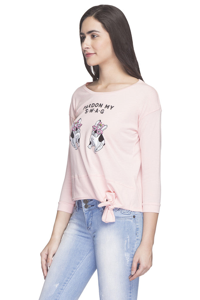 Printed Waist Tie Up T-shirt-5