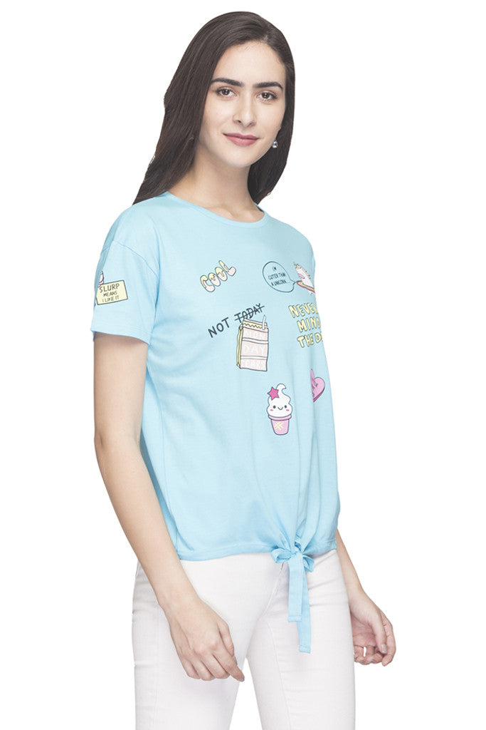 Printed Waist Tie Up T-shirt-4