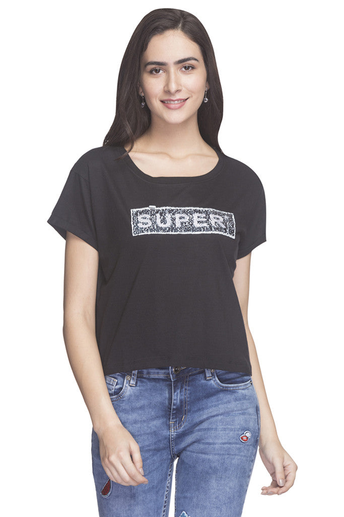 Front Sequined Party T-shirt-1