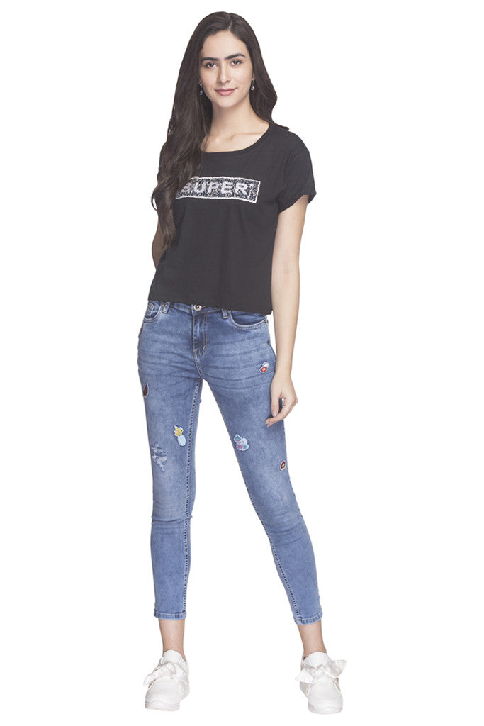 Front Sequined Party T-shirt-2
