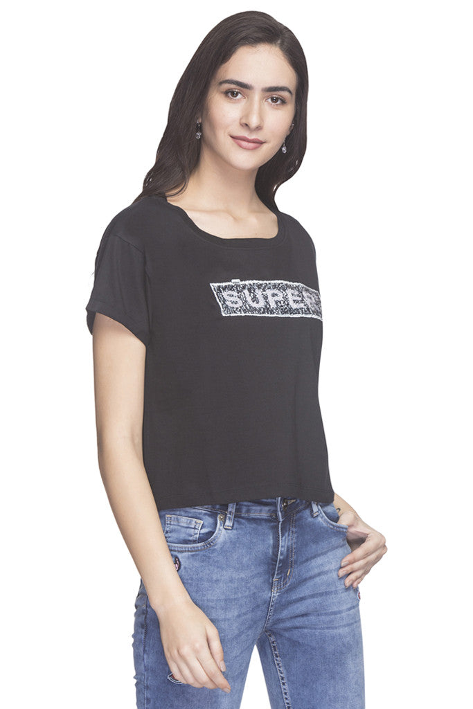 Front Sequined Party T-shirt-4