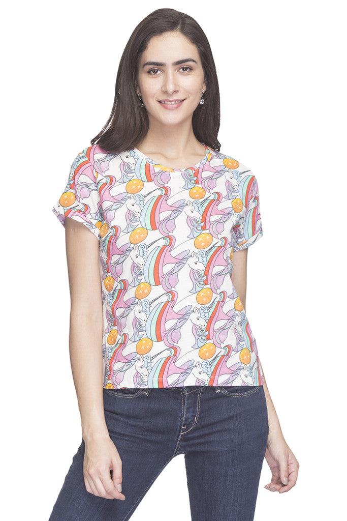 Unicorn Print T-shirt-1