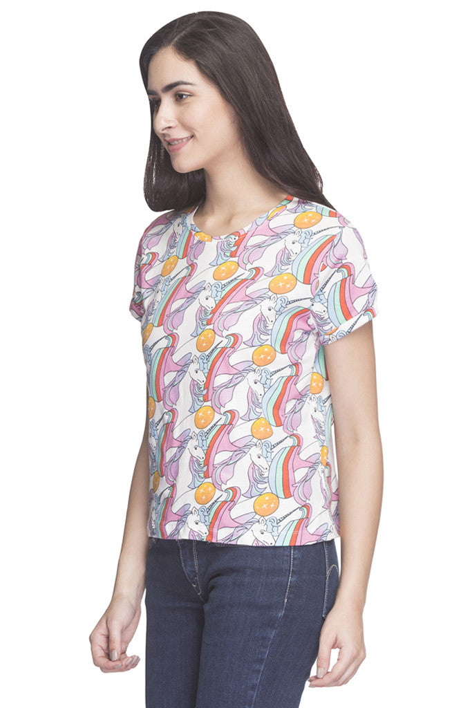 Unicorn Print T-shirt-5