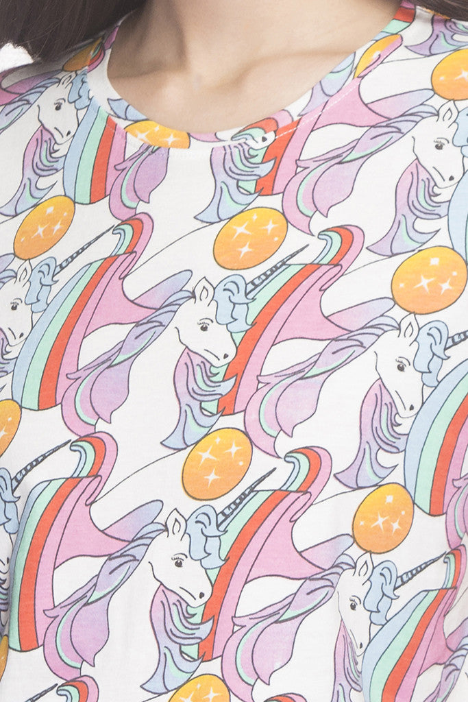 Unicorn Print T-shirt-6