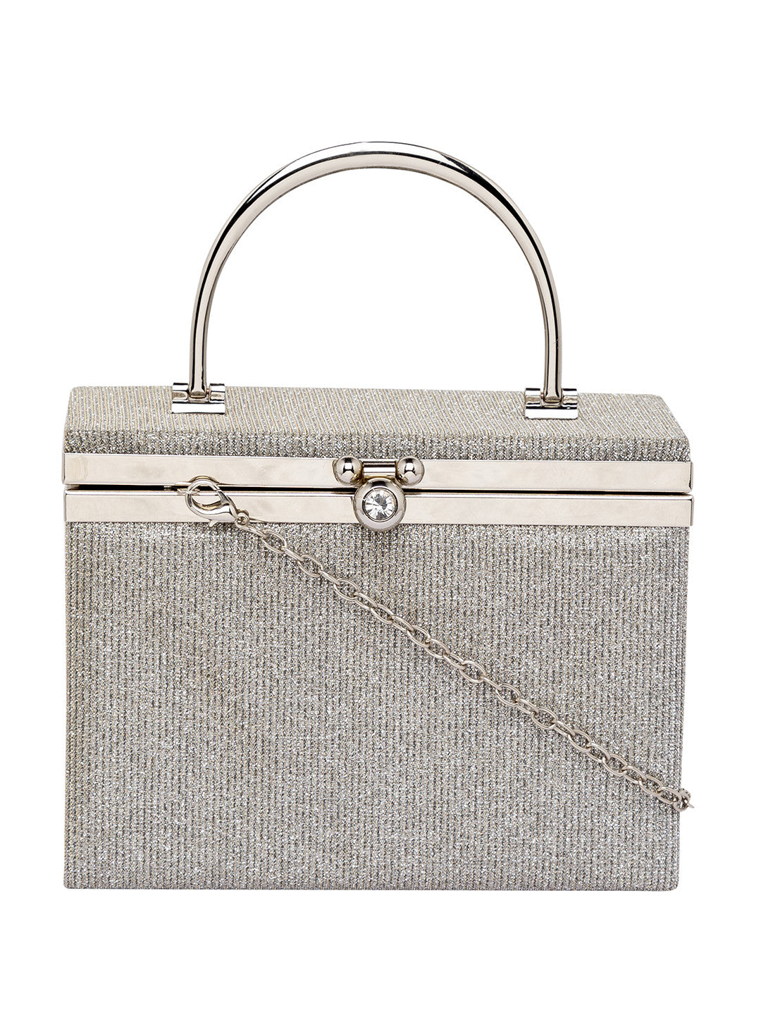 Silver color Party Box Structured Clutch-2