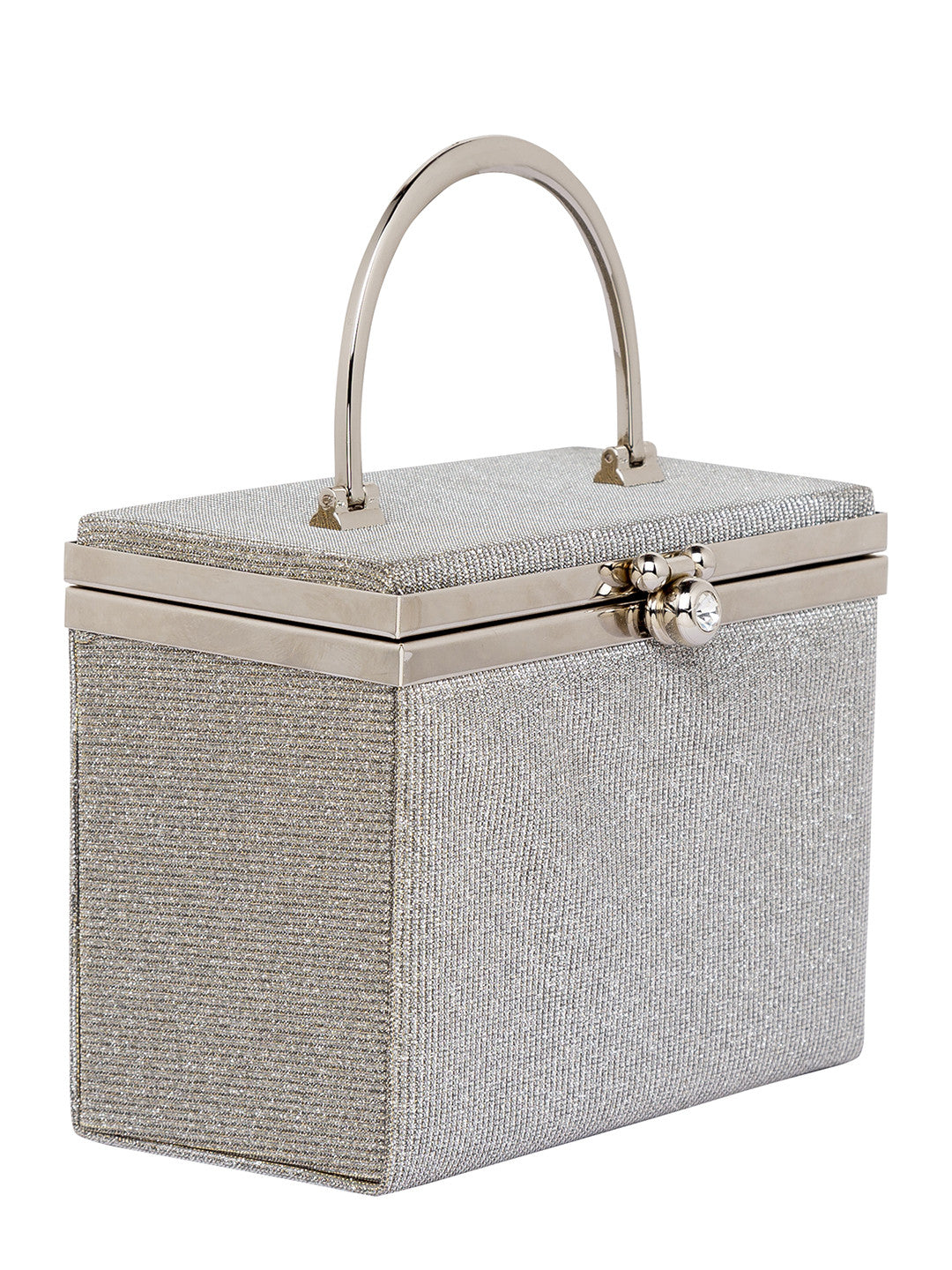 Silver color Party Box Structured Clutch-4