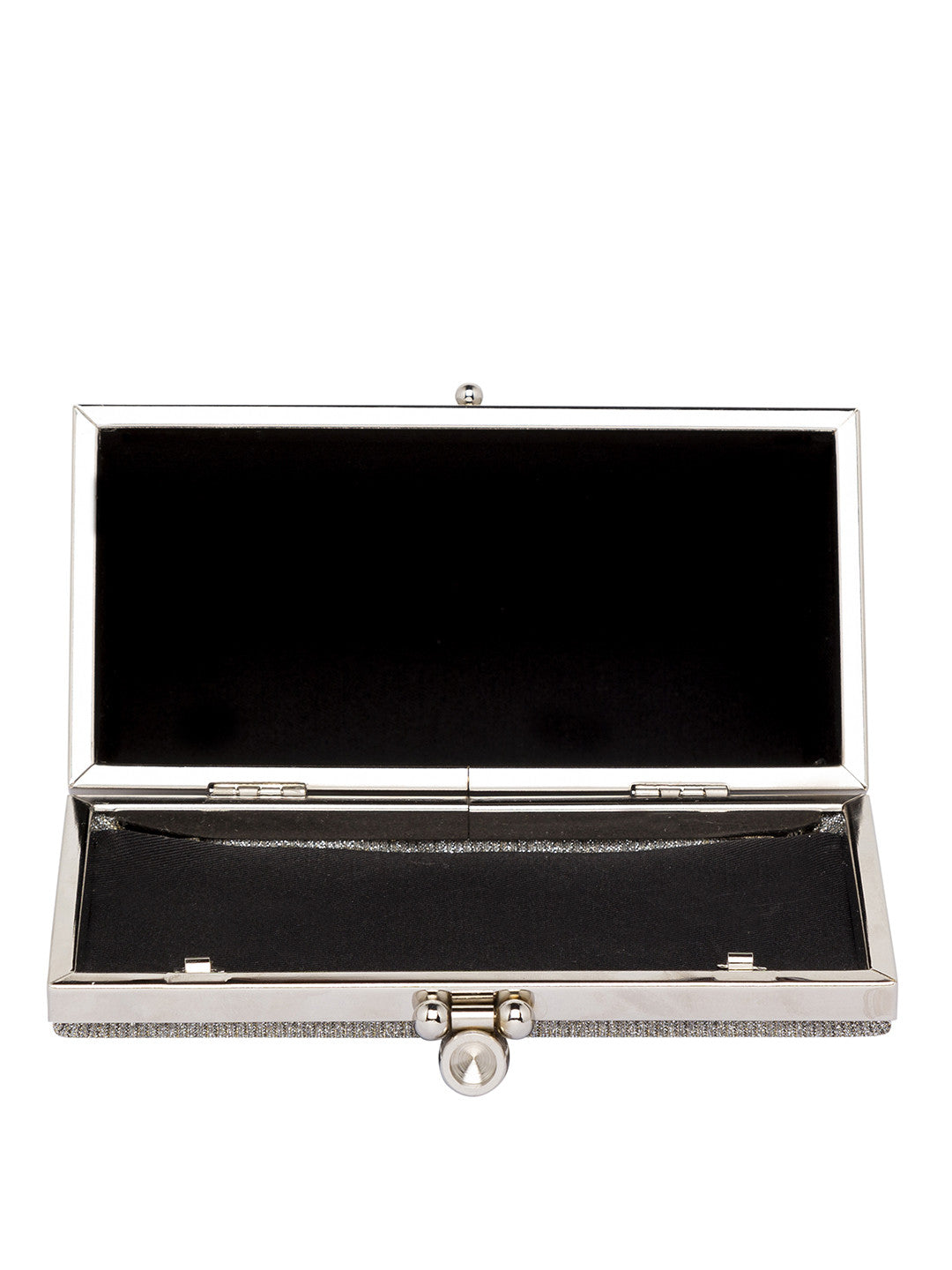 Silver color Party Box Structured Clutch-6