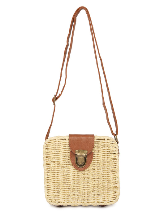 Wicker Beige Sling Bag-1