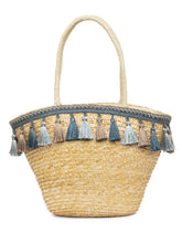 Load image into Gallery viewer, Bamboo Rattan Tasselled Beige Handbag-2