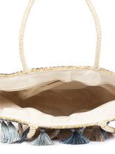 Load image into Gallery viewer, Bamboo Rattan Tasselled Beige Handbag-5