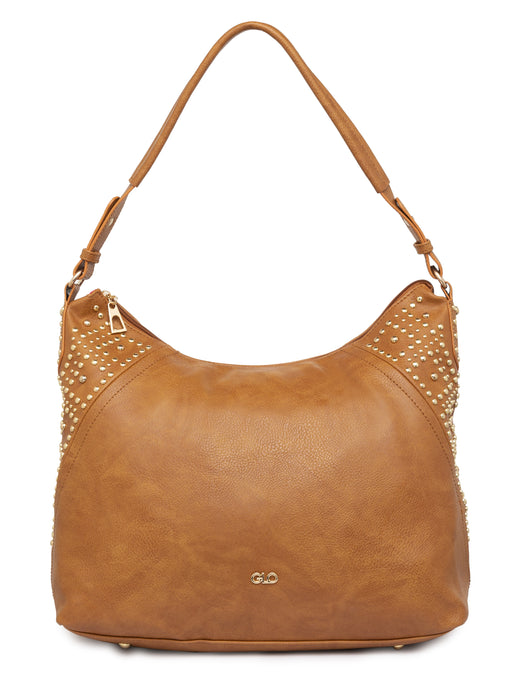 Rivet Studded Tan Tote Bag-1