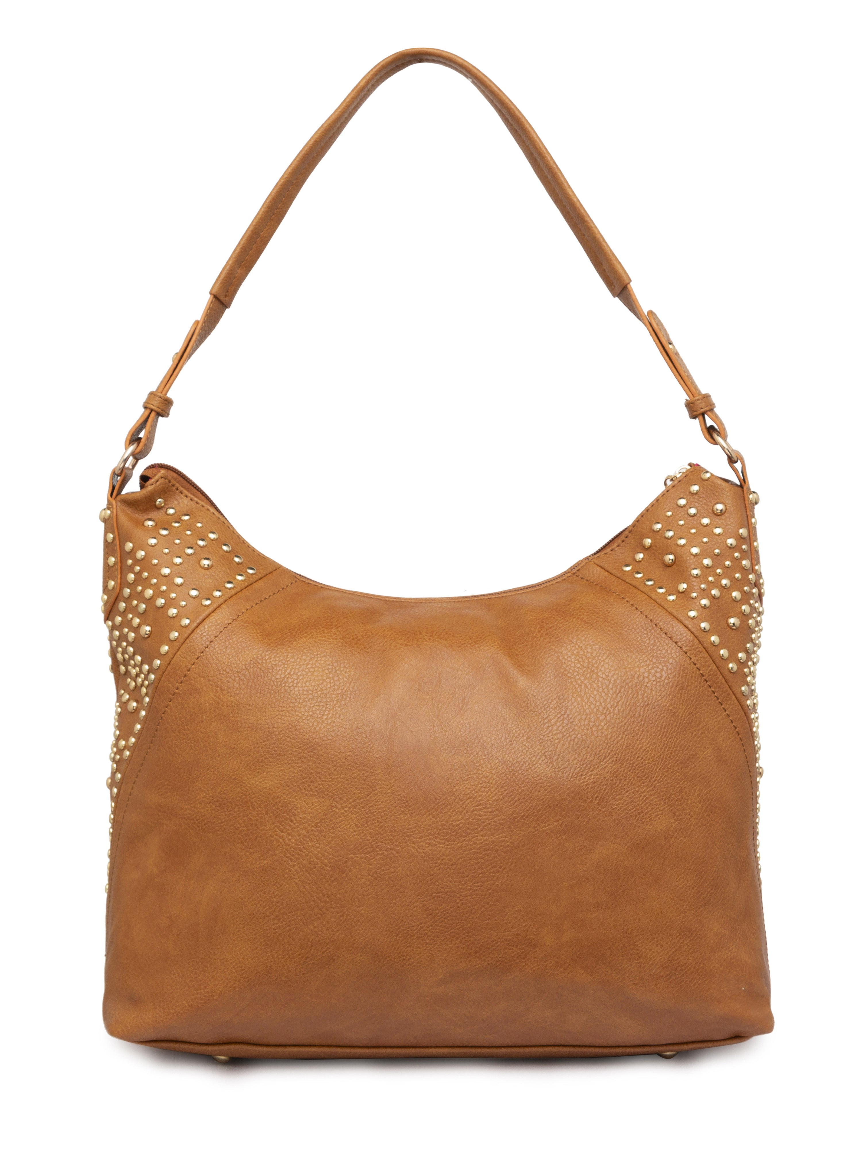 Rivet Studded Tan Tote Bag-2