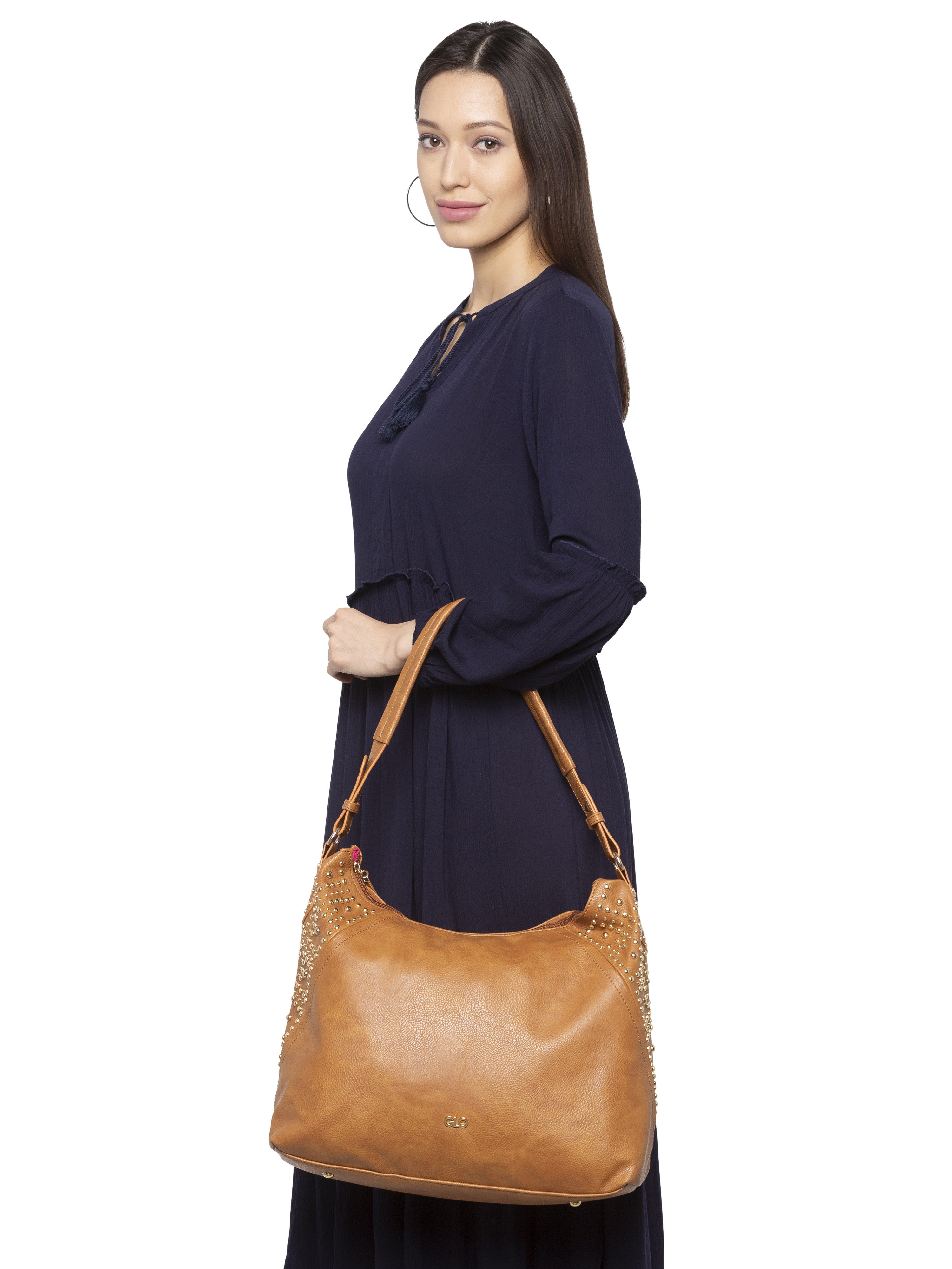 Rivet Studded Tan Tote Bag-7