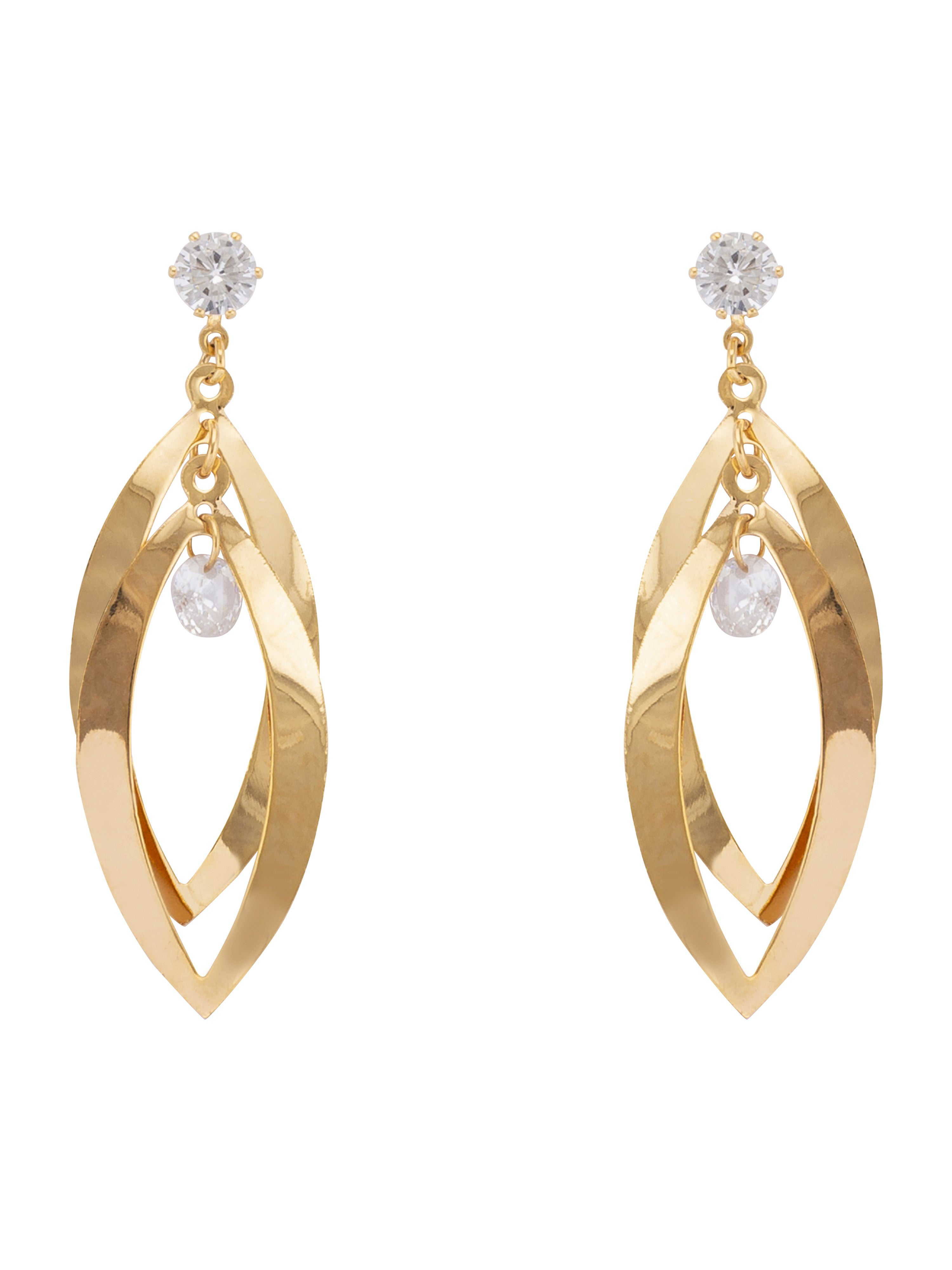 Gold Stone Dangling Earrings-1