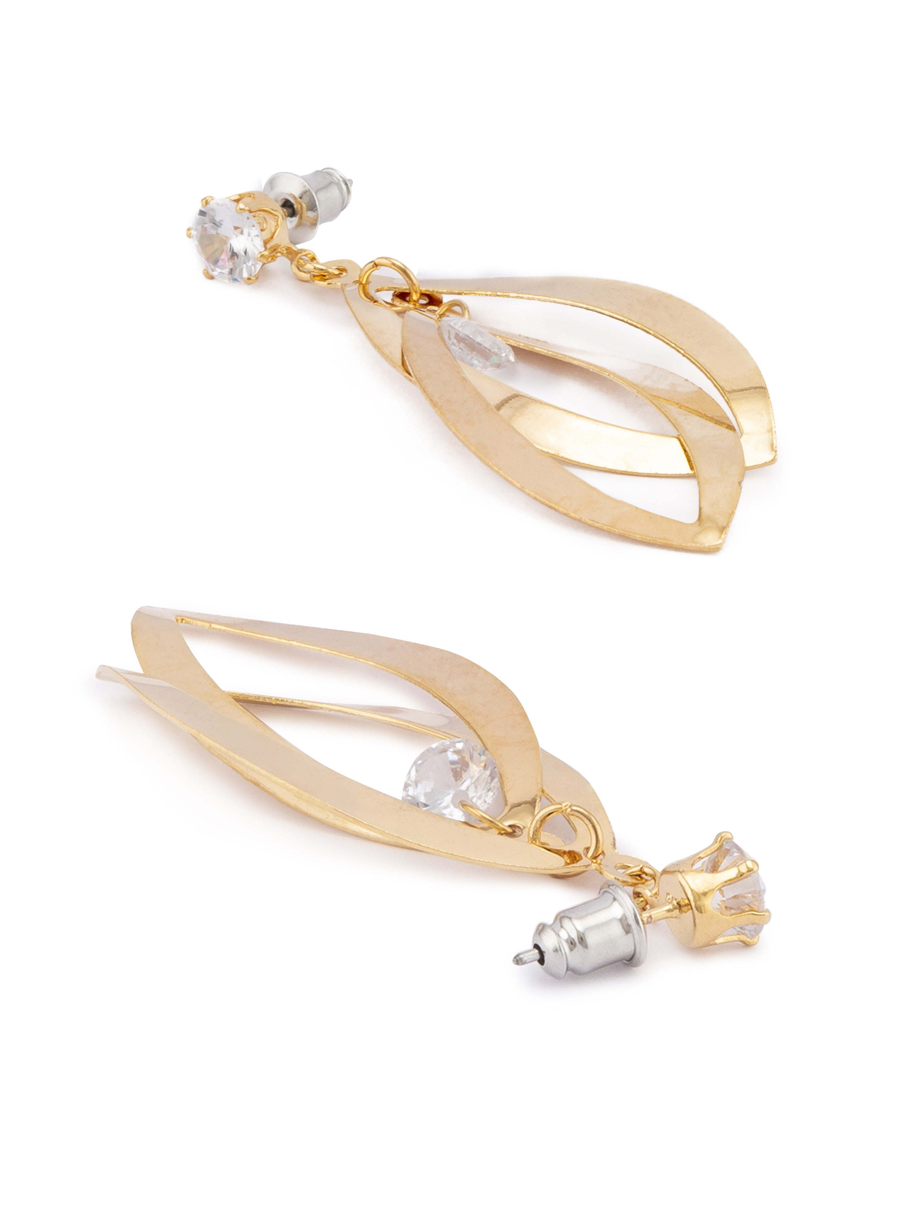 Gold Stone Dangling Earrings-2