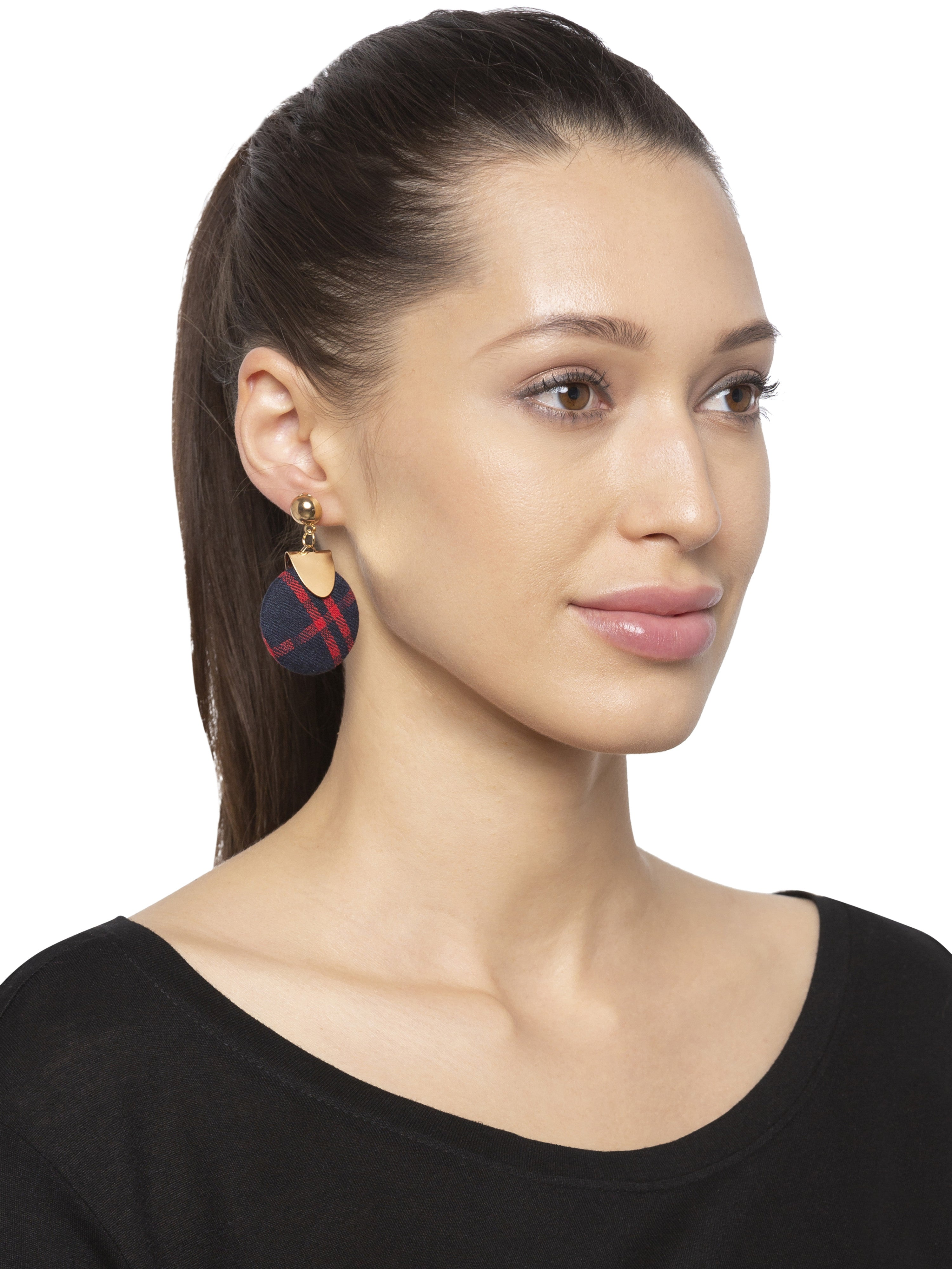 Navy Red Gold Stud Dangle Earrings-3