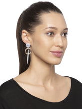 Load image into Gallery viewer, Grey Gold Stud Dangle Earrings-3
