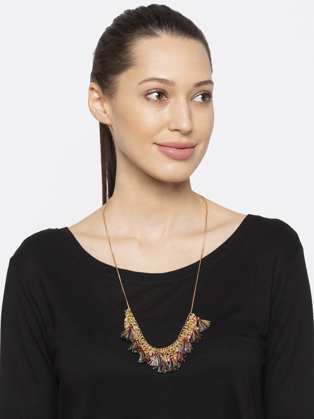 Gold Stones and Beads Necklace-3