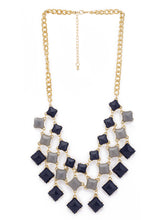 Load image into Gallery viewer, Gold & Blue Stones and Beads Necklace-1