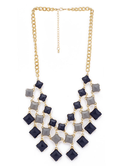 Gold & Blue Stones and Beads Necklace-1