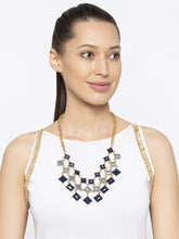 Load image into Gallery viewer, Gold & Blue Stones and Beads Necklace-3
