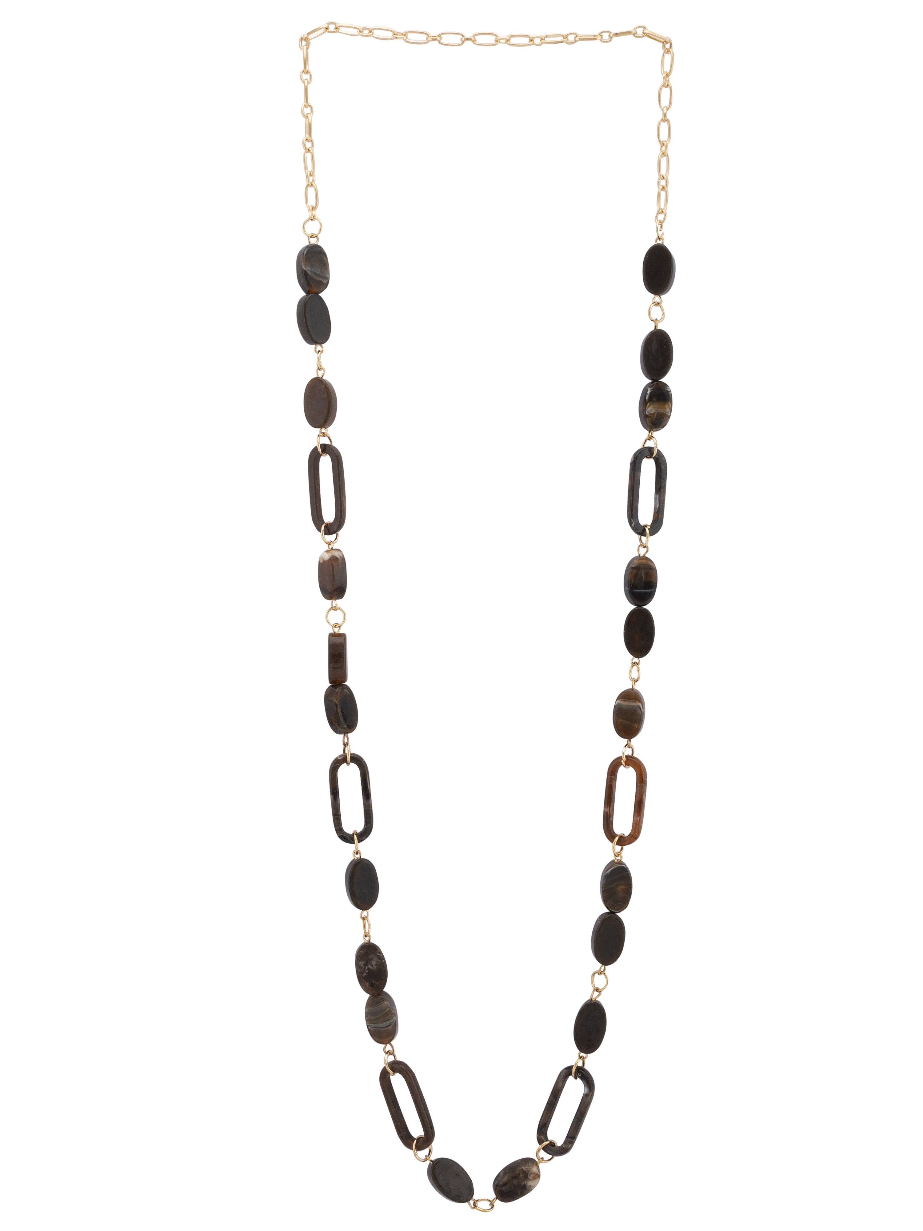 Brown Stone Gold Long Necklace-1