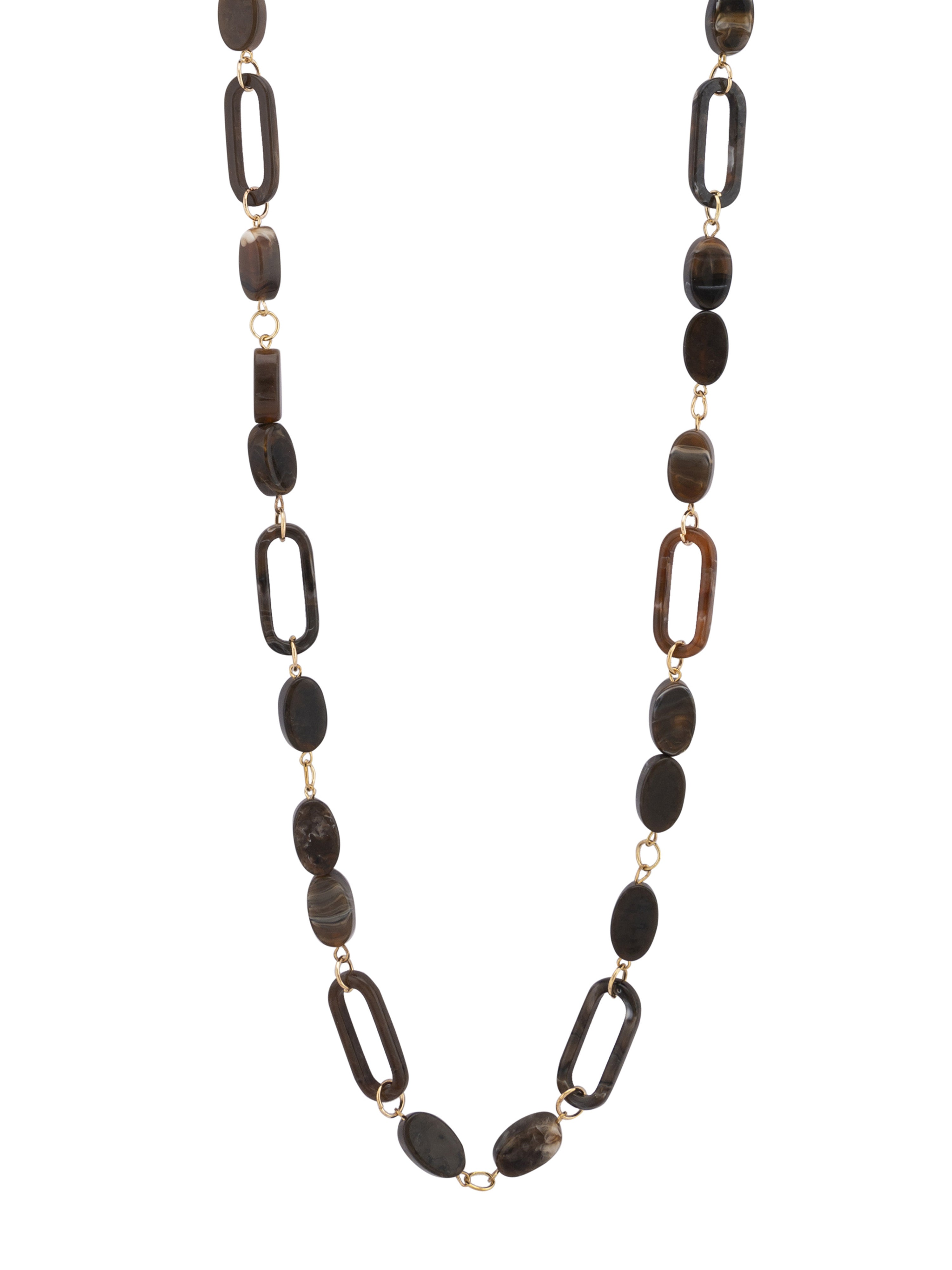 Brown Stone Gold Long Necklace-2