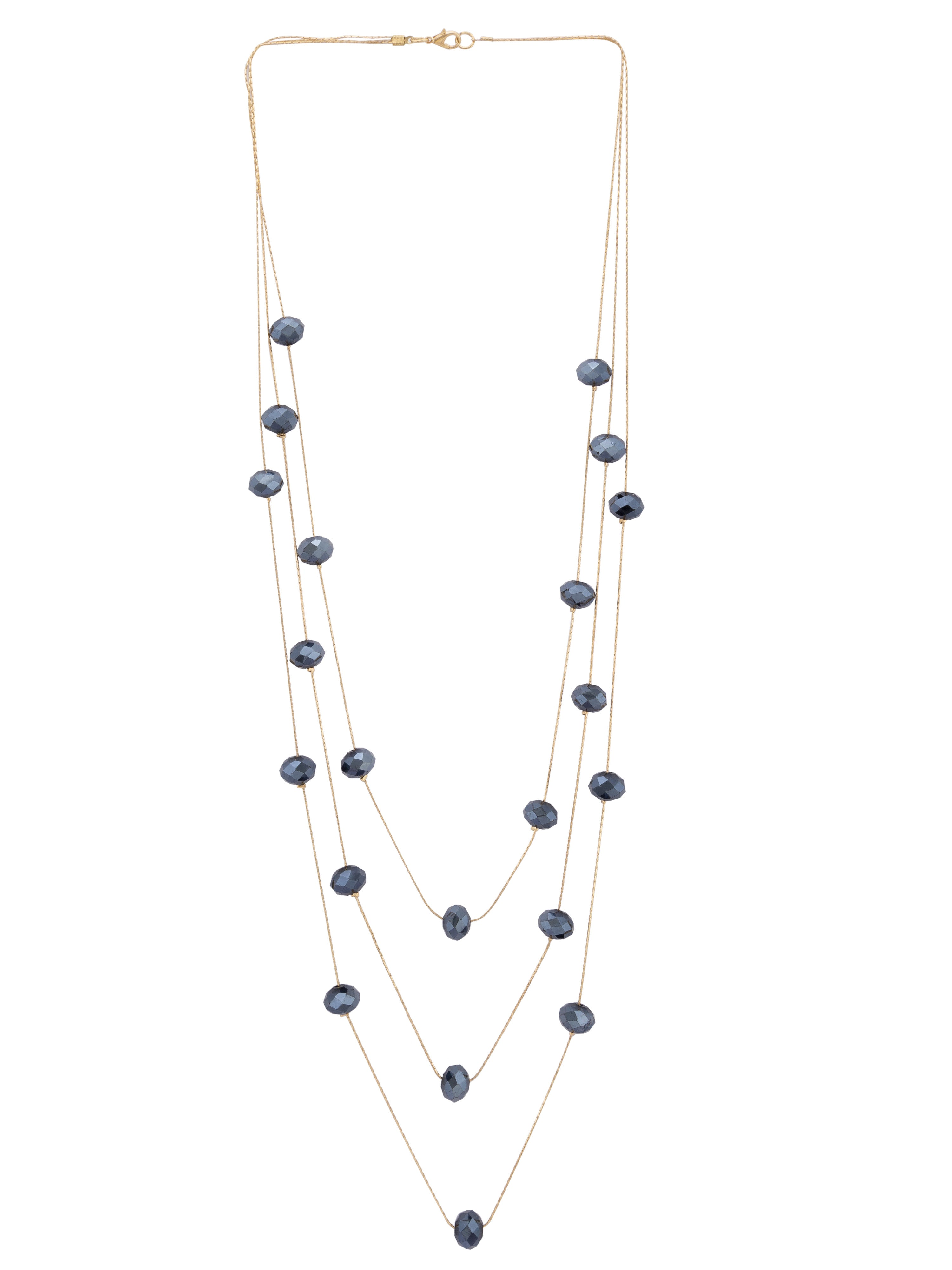 Navy Blue Stone Layered Gold Necklace-1
