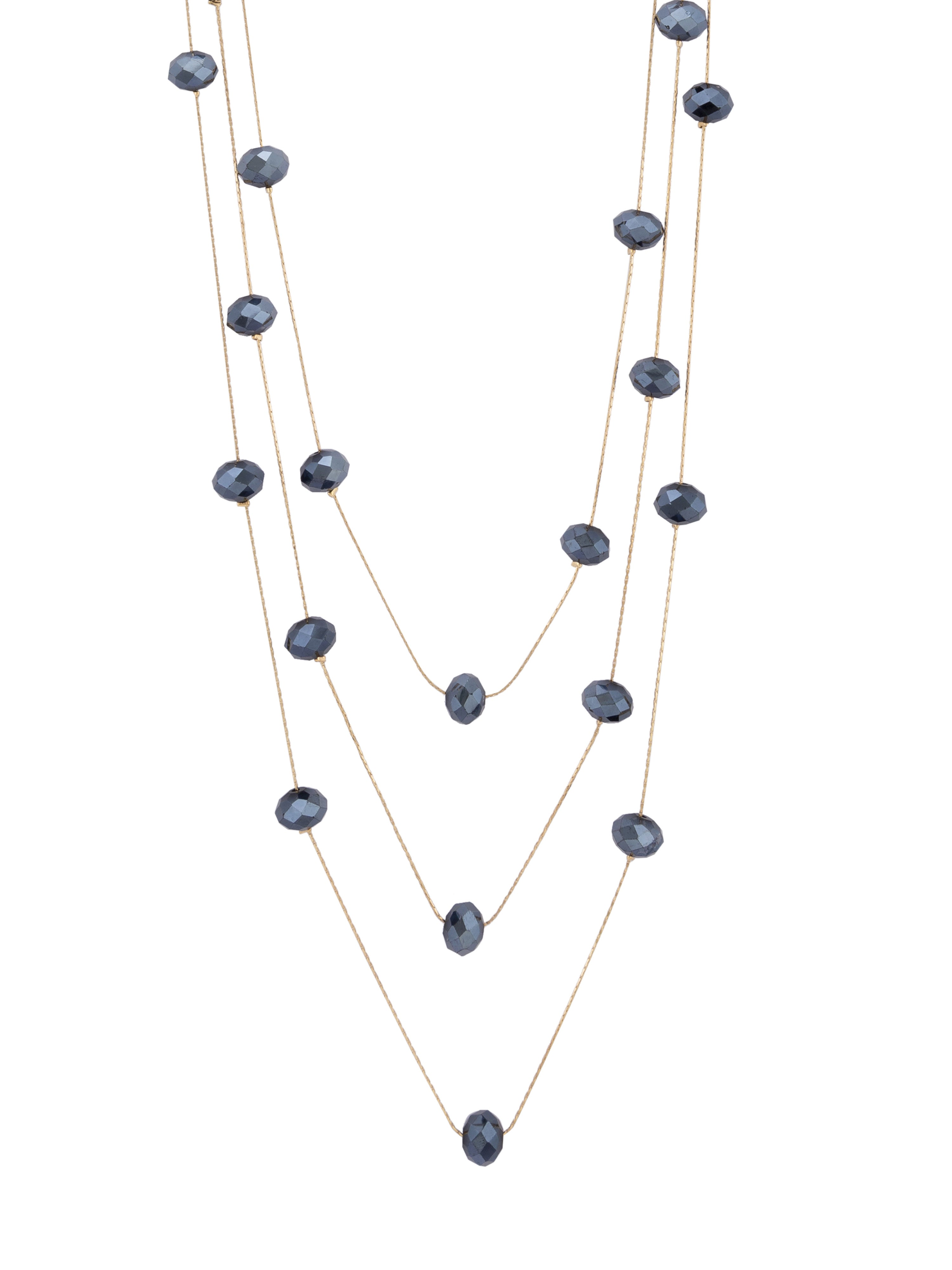 Navy Blue Stone Layered Gold Necklace-2