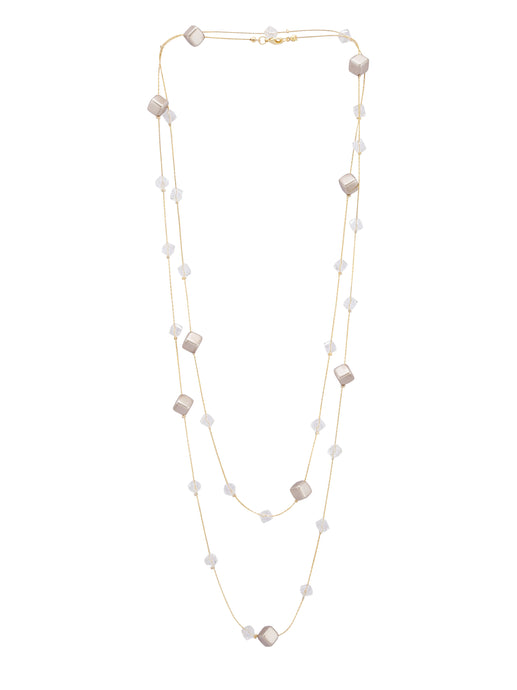 Double Strand Bead Gold Necklace-1