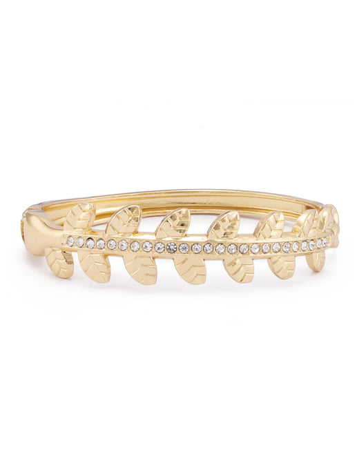 Leaf Motif Stone Gold Bangle Bracelet-1