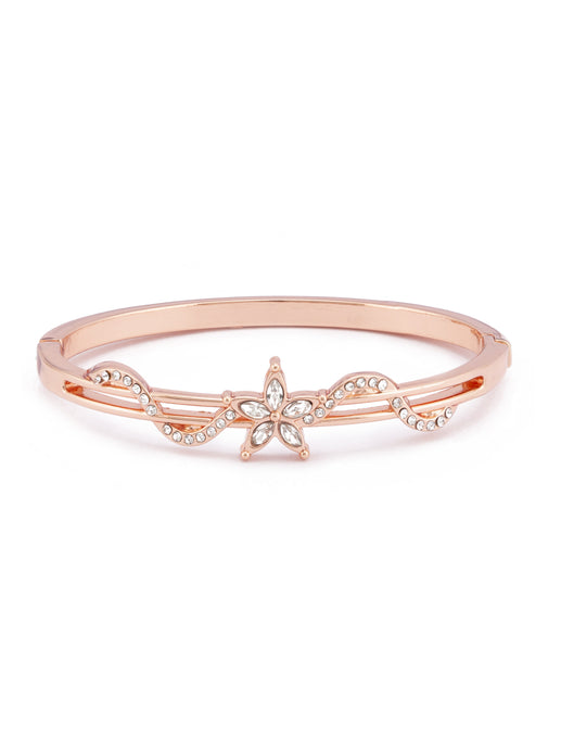 White Stone Rose Gold Bangle Bracelet-1