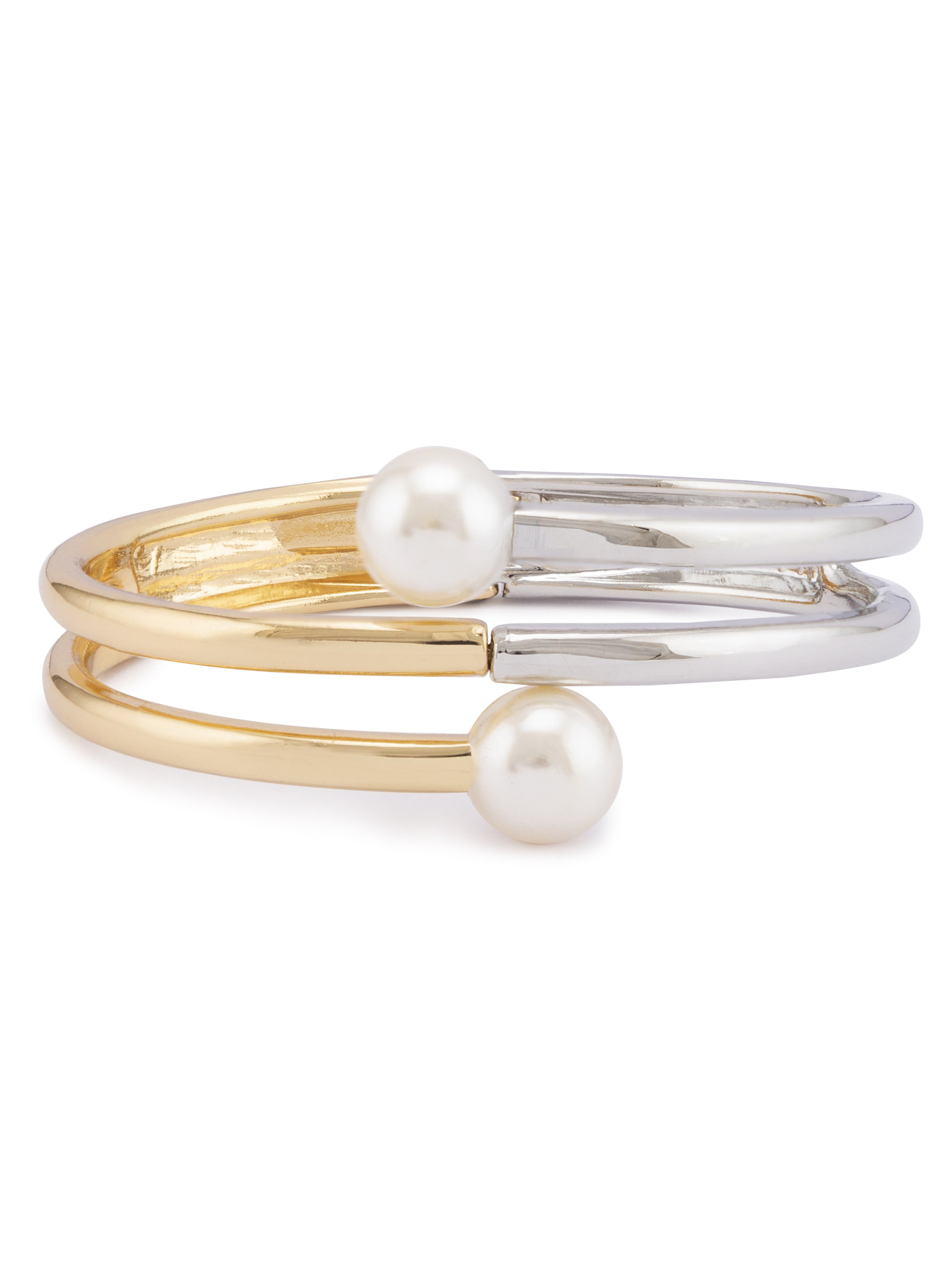 Pearl Silver Gold Bangle Bracelet-1