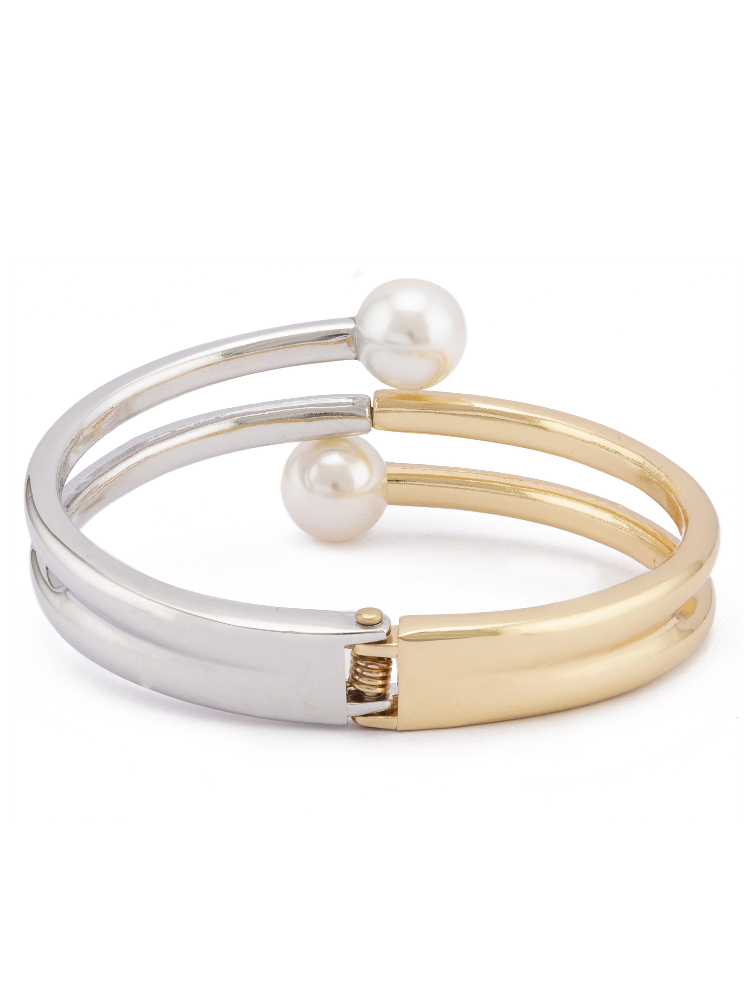 Pearl Silver Gold Bangle Bracelet-2