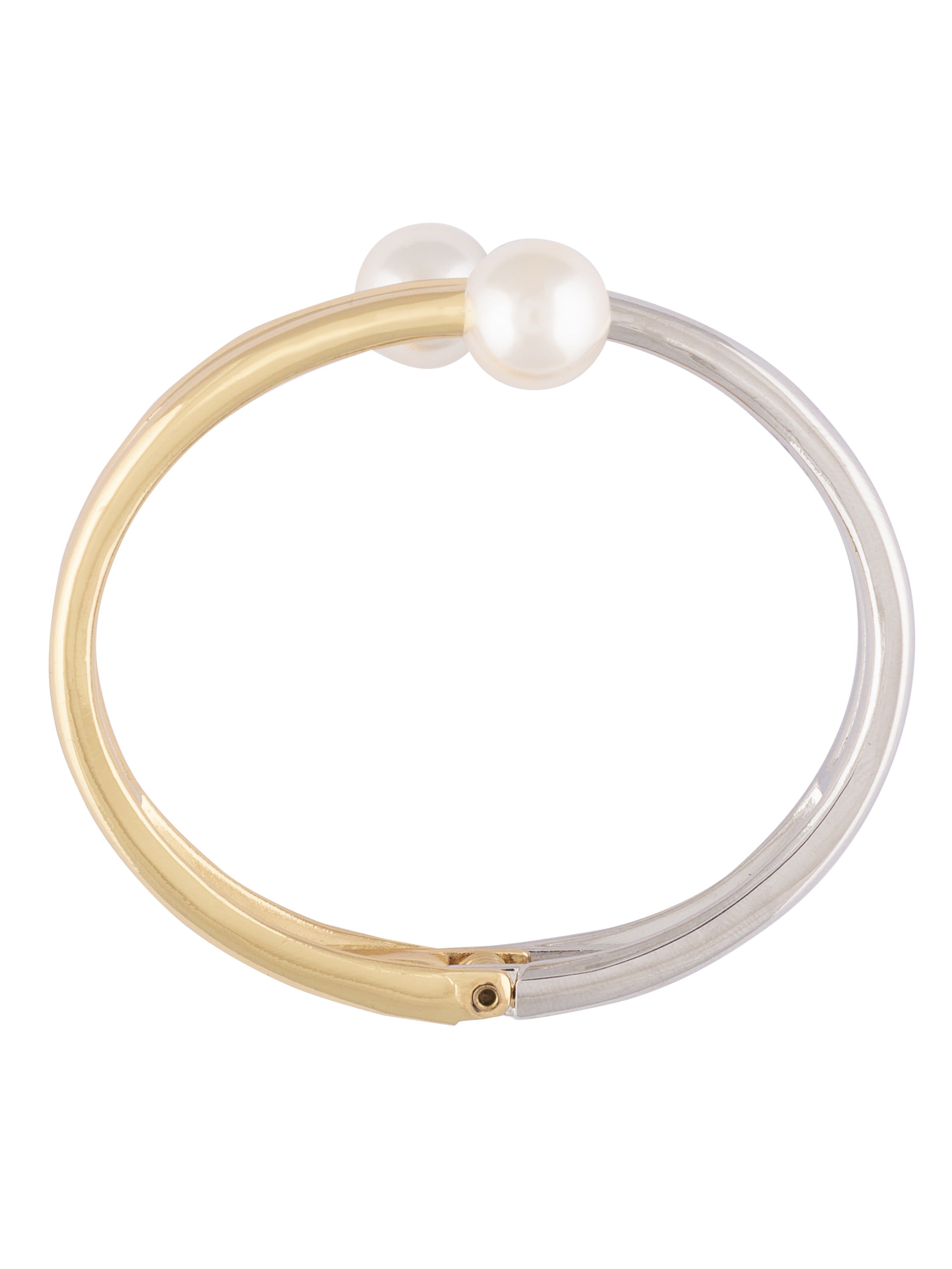 Pearl Silver Gold Bangle Bracelet-3