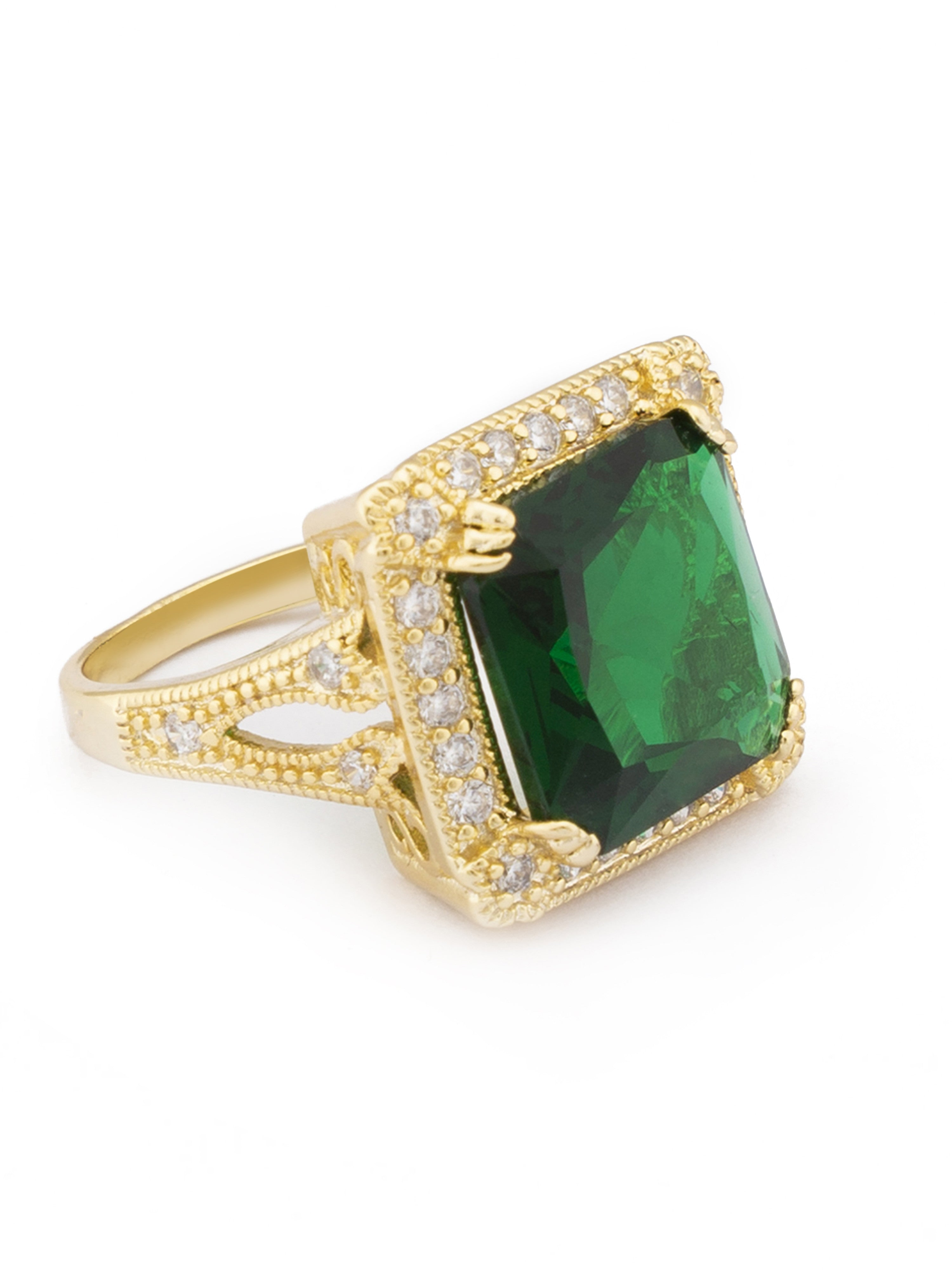 Green White Gold Statement Ring-2