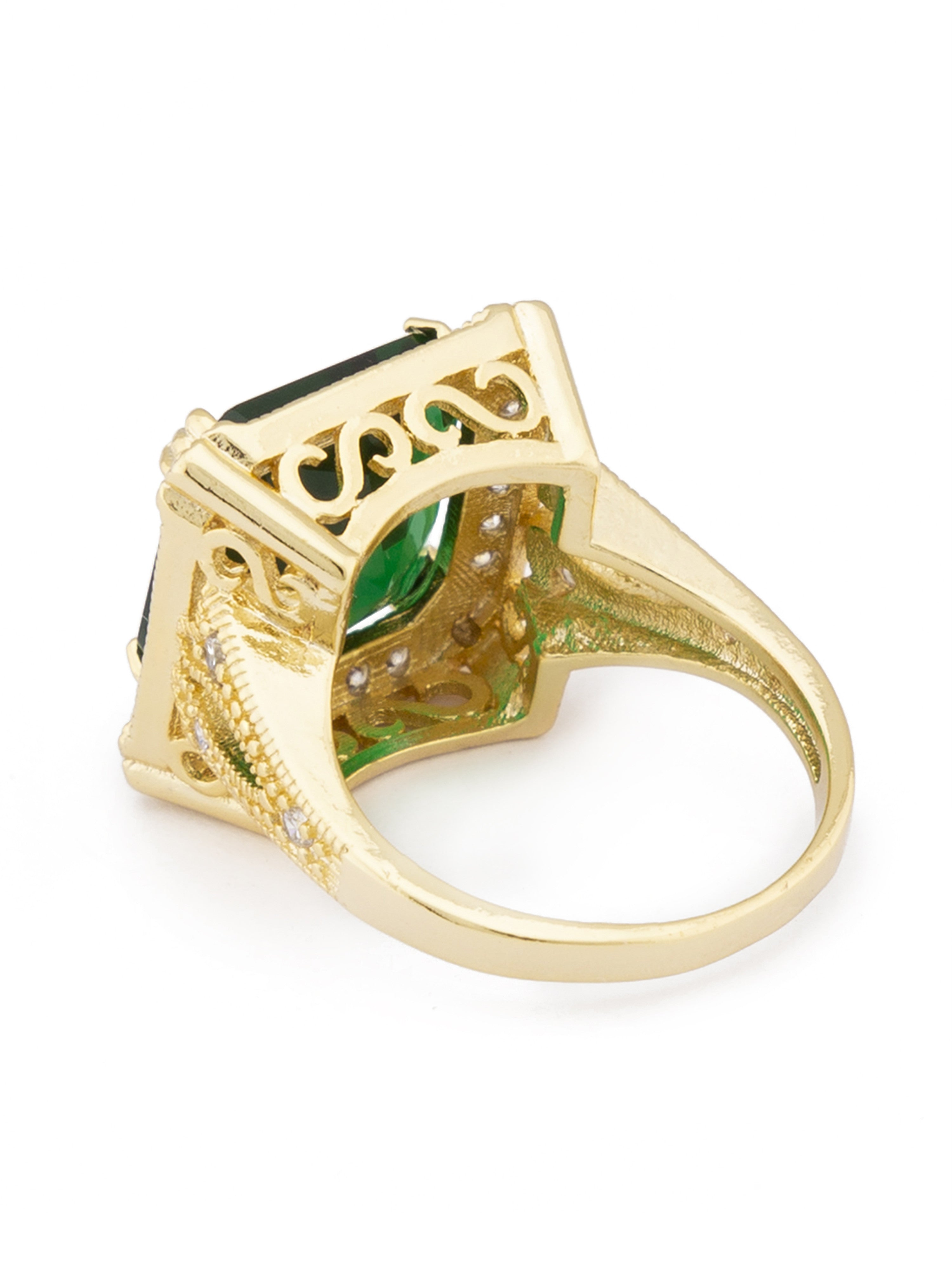 Green White Gold Statement Ring-3