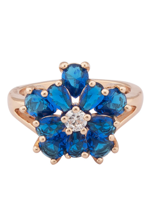 Floral Navy Blue Stone Rose Gold Ring-1