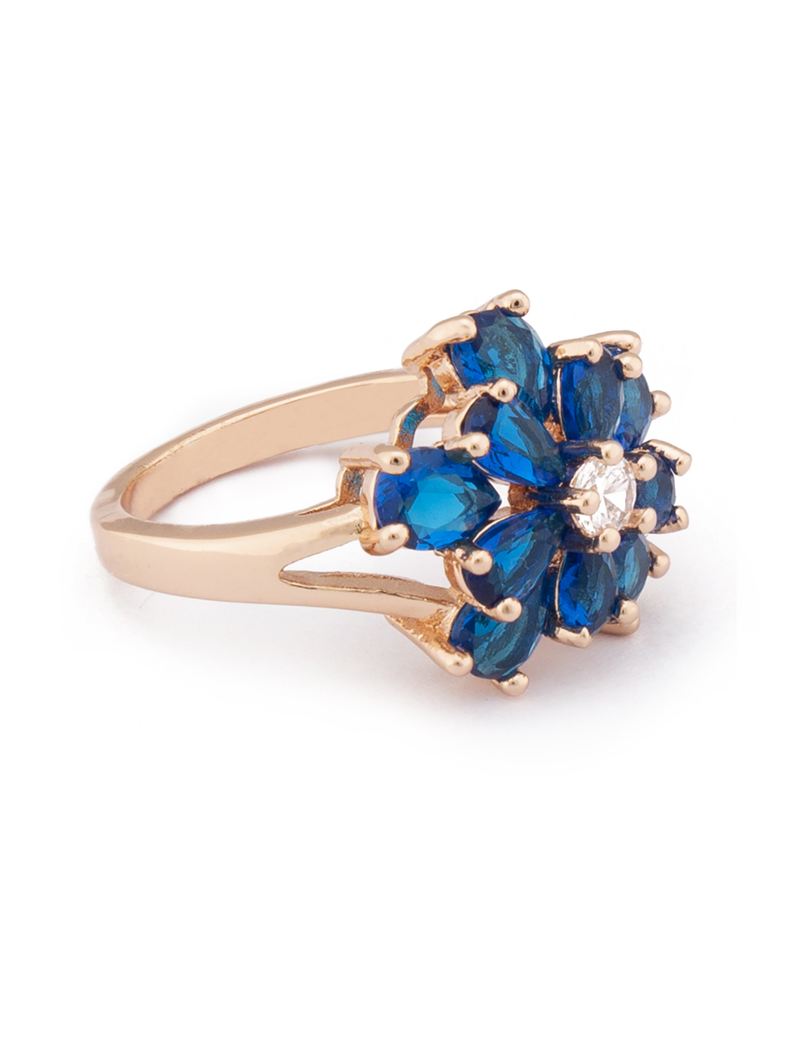 Floral Navy Blue Stone Rose Gold Ring-2