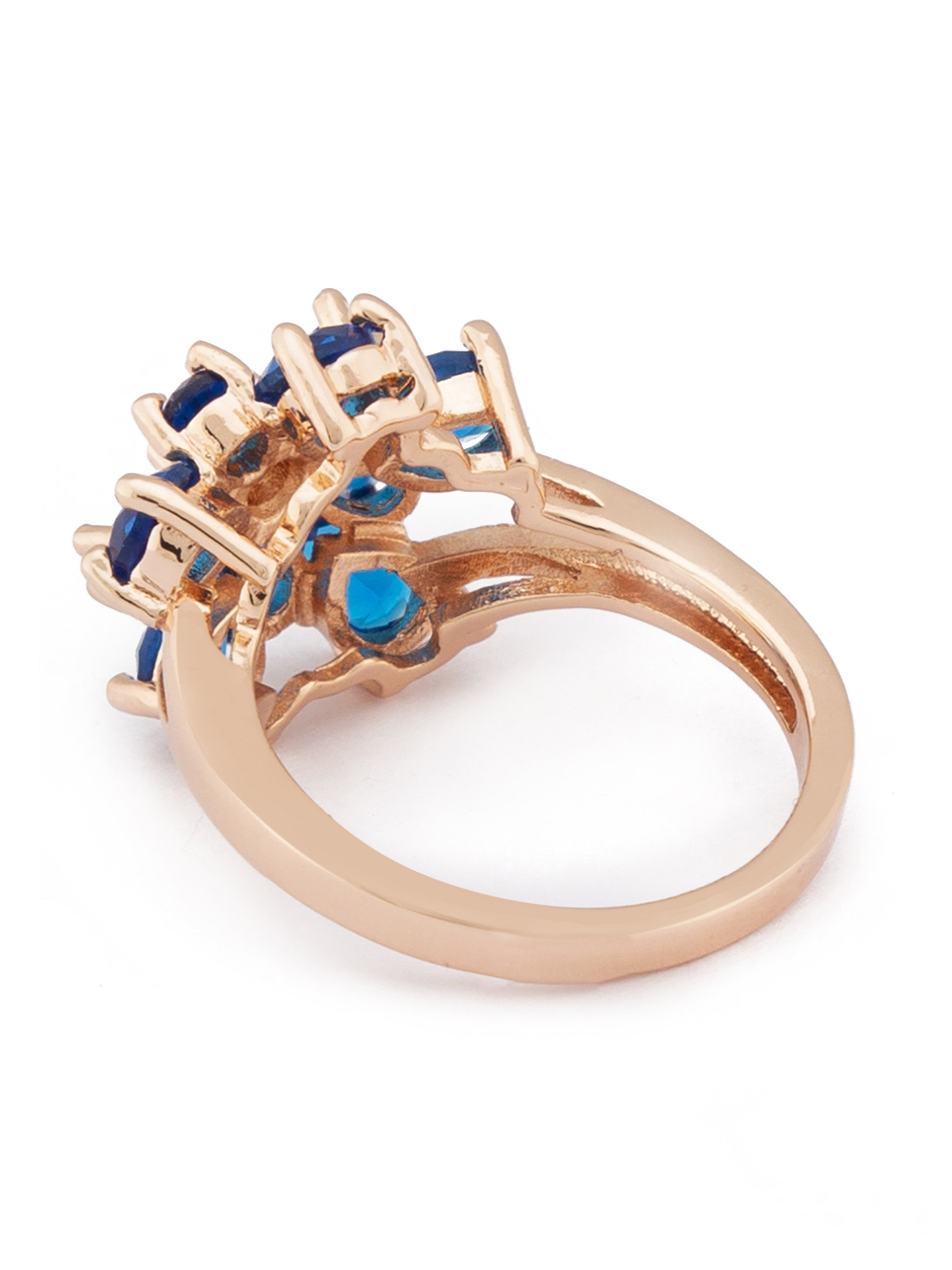 Floral Navy Blue Stone Rose Gold Ring-3