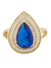 Load image into Gallery viewer, Navy Blue Stone Gold Statement Ring-1